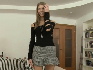 Desirable beauty in sexy stockings receives anal spanking