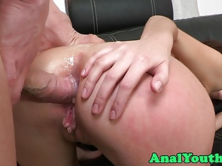 Doggystyle assfucked babe gets facialized