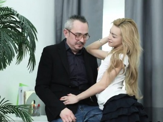 Sultry schoolgirl gets seduced and drilled by her elderly le