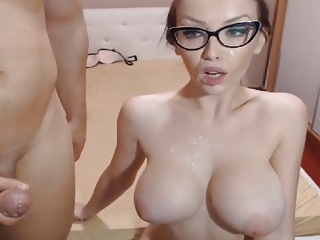 Beautiful Sexy Nerd Gets Facial After Intense Sex